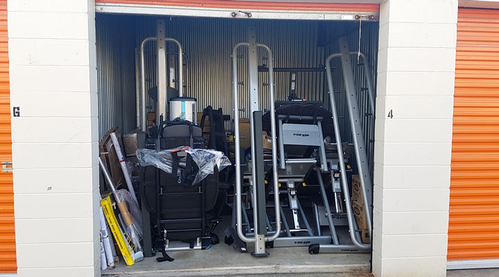 fitness equipment in storage